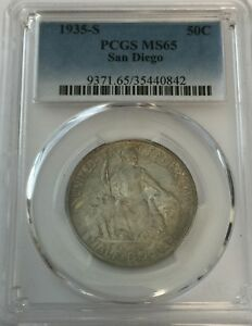 1935 S PCGS MS65 SAN DIEGO SILVER COMMEMORATIVE HALF TONED MS 65 50C 842