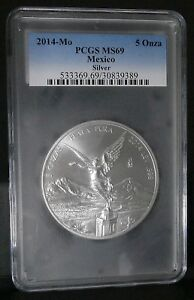Click now to see the BUY IT NOW Price! 2014 5 OZ MEXICO SILVER LIBERTAD PCGS MS 69 BU KEY DATE 6400 MINTED POP 10