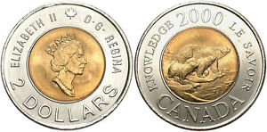 2 DOLLARS   CANADIAN COIN 2000   CANADA   TOONIE   CIRCULATED