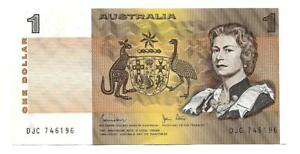 ONE DOLLAR AUSTRALIA BANKNOTE JOHNSTON / STONE SIGNATURE  ND 1983  UNC P 74D
