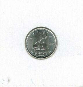 1997 CANADIAN BRILLIANT UNCIRCULATED BUSINESS STRIKE 10 CENT COIN