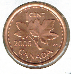 2006 LOGO CANADIAN BRILLIANT UNCIRCULATED COPPER PLATED ZINC ONE CENT COIN