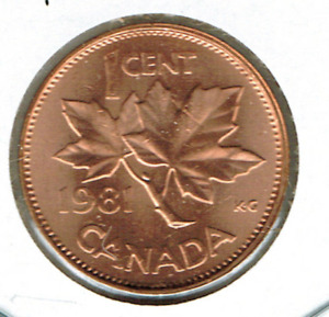 1981 CANADIAN UNCIRCULATED ONE CENT ELIZABETH II COIN