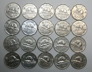 LOT OF 20 CANADA 5 CENTS   1940'S TO 1970'S