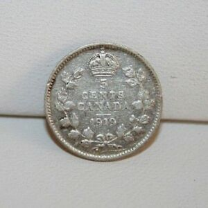 1919 CANADA 5 FIVE CENTS SILVER COIN