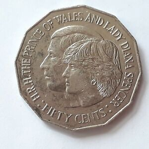 1981  50 CENT AUSTRALIAN COIN   ROYAL WEDDING H.R.H PRINCE OF WALES & LADY DIANA