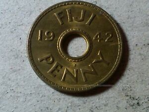 FIJI 1 PENNY 1942 HOLED COIN WWII PERIOD