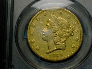 1851 O $20 LIBERTY DOUBLE EAGLE GOLD PCGS  XF DETAILS  COIN