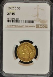1852 C HALF EAGLE   NO MOTTO $5 NGC XF45