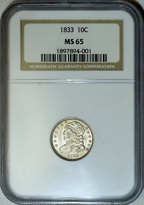 Click now to see the BUY IT NOW Price! 1833 NGC MS65 CAPPED BUST DIME LUSTROUS WHITE TRUE GEM TRY TO FIND THIS NICE