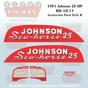 1955 Johnson 25 HP RD-17 Sea Horse Outboard Reproduction 9 Piece Vinyl Decals