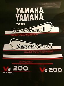 Yamaha 200 OX66 Saltwater Series II Dekaler kit  white and red set  free ship  - 572.16 KR