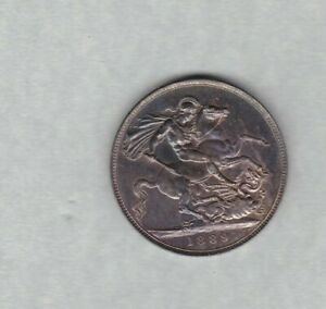 1889 VICTORIAN JUBILEE HEAD SILVER CROWN IN LY FINE OR BETTER CONDITION