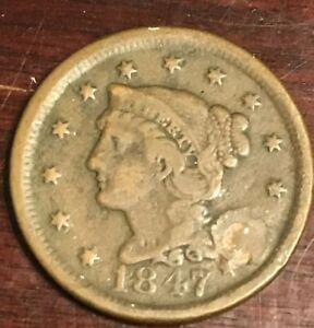 1847 U.S. BRAIDED HAIR LARGE CENT HOLED AND PLUGGED L432