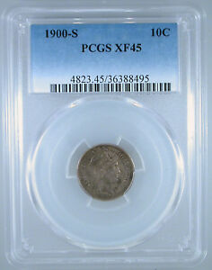 1900 S BARBER DIME XF 45 PCGS CERTIFIED