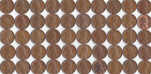 1955 P LINCOLN WHEAT CENT ROLL CIRCULATED