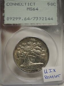 1935 CONNECTICUT COMMEMORATIVE HALF DOLLAR PCGS MS64 OLD RATTLER HOLDER  2144