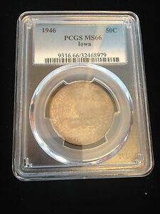 1946 STATEHOOD HALF DOLLAR IOWA PCGS MS66