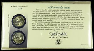 US MINT 2000 P & D UNCIRCULATED SOUTH CAROLINA STATE QUARTER FIRST DAY COVER