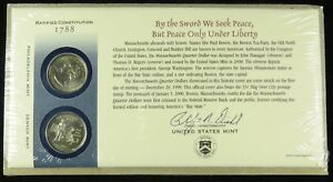 US MINT 2000 P & D UNCIRCULATED MASSACHUSETTS STATE QUARTER FIRST DAY COVER BU