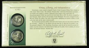 US MINT 1999 P & D UNCIRCULATED PENNSYLVANIA STATE QUARTER FIRST DAY COVER BU