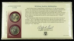 US MINT 1999 P & D UNCIRCULATED GEORGIA STATE QUARTER FIRST DAY COVER SEALED BU