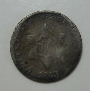 1853  3 CENT PIECE       3  C SILVER COIN