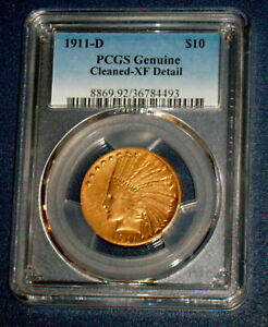 PCGS  1911 D TEN DOLLAR INDIAN GOLD $10 DENVER MINT XF EAGLE U S. COIN