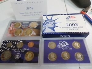 2008 S UNITED STATES MINT 14 COIN PROOF SET WITH COA