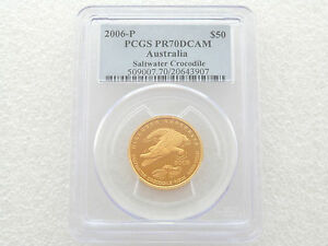 Click now to see the BUY IT NOW Price! 2006 P AUSTRALIA CROCODILE $50 FIFTY DOLLAR GOLD PROOF 1/2OZ COIN PCGS PR70 DCAM