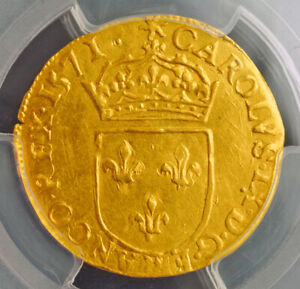 Click now to see the BUY IT NOW Price! 1571 ROYAL FRANCE CHARLES IX. HUGUENOT GOLD ECU COIN. LA ROCHELLE  PCGS AU 58