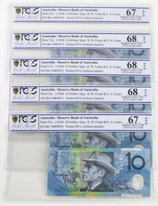 Click now to see the BUY IT NOW Price! 1994 AUSTRALIA RUN OF 5 $10 NOTES FRASER/EVANS BLUE DOBELL UNC 67 & 68 OPQ PCGS
