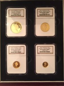 Click now to see the BUY IT NOW Price! 1987 P AUSTRALIA GOLD NUGGET 4 COIN SET.  $100 $50 $25 $15 NGC PF70UC AGW 1.85OZ