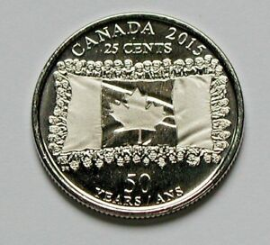 2015 CANADA COIN   25 CENTS   MS  UNC   50TH ANNIVERSARY OF FLAG COMMEMORATIVE