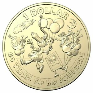 2019 MR SQUIGGLE 60TH ANNIVERSARY   $1 DOLLAR COIN  BALLOONS  UNC AUSTRALIA