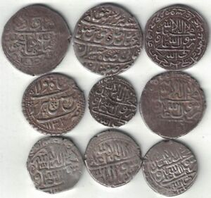 ISLAMIC COLLECTION OF 9 COINS SHAHI & ABASI 1644 1732 ALL LISTED