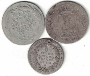 GERMAN STATES PRUSSIA COLLECTION OF 3X 1/3 & 1/6 THALER 1779 1812 ALL LISTED