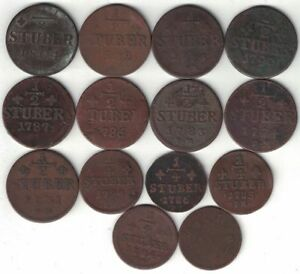 GERMAN STATES JULICH BERG COLLECTION OF 14 1/4 & 1/2 STUBER 1766 1804 ALL LISTED