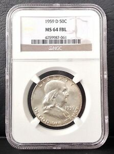 1959 D 50C FRANKLIN SILVER HALF DOLLAR NGC MS 64 FULL BELL LINE