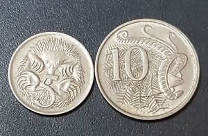 AUSTRALIA 2 OLD COINS 5 & 10 CENTS 1967