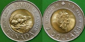 2000 CANADA KNOWLEDGE TOONIE GRADED AS BRILLIANT UNCIRCULATED FROM ORIGINAL ROLL
