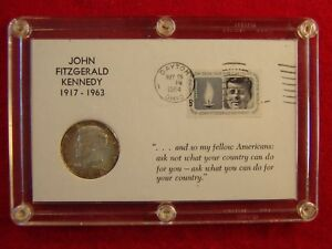 Click now to see the BUY IT NOW Price! SEIFERT 1964 KENNEDY HALF DOLLAR ON KENNEDY 5C STAMP FIRST DAY COVER PLAQUE