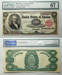 Click now to see the BUY IT NOW Price! 1891 $20 TREASURY NOTE TILLMAN / MORGAN PMG 67 SUPERB GEM UNC   GREAT EMBOSSING