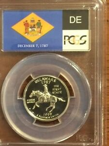 Click now to see the BUY IT NOW Price! 1999 S  WASHINGTON SILVER QUARTER DELAWARE FLAG LABEL  PCGS PR70DCAM