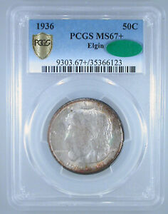 Click now to see the BUY IT NOW Price! 1936 ELGIN COMMEMORATIVE HALF MS 67  PCGS/CAC CERTIFIED   COLOR