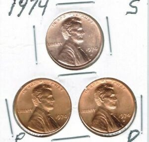 1974 D P S THREE UNCIRCULATED CENT COINS