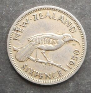 NEW ZEALAND 1950 KGVI SIXPENCE 6D  COIN GOOD DETAIL HARDER DATE