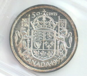 Click now to see the BUY IT NOW Price! 1955 ELIZABETH II 50 CENTS CAN  CAMEO  CCCS GRADE PL 64