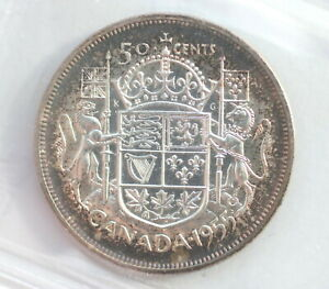 Click now to see the BUY IT NOW Price! 1955 ELIZABETH II 50 CENTS CAN  HEAVY CAMEO  CCCS GRADE PL 64
