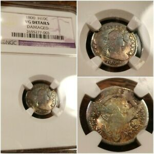1800 DRAPED BUST HALF DIME NGC VG DETAILS RAINBOW TONED AMAZING COLORS